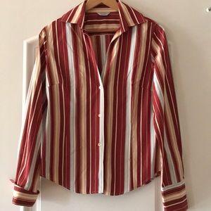 Paul Smith burgundy stripe button blouse, sz 10